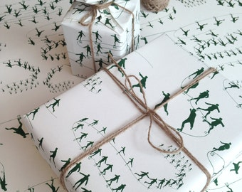 Ice Skating Christmas Wrapping Paper, Christmas gift wrap with figure skating design, gift wrap sheets, matching cards available