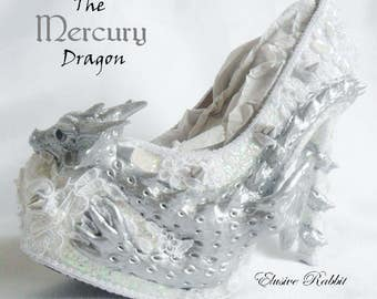 The Mercury Dragon Heels Custom Hand Sculpt Kraken Shoe Size 3 4 5 6 7 8  High Wedge Fantasy Mythical Bridal Wedding Alternative White Lace
