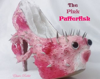 The Pink Pufferfish Heels Sea Spikes Custom Hand Sculpt Paint Shoe Size 3 4 5 6 7 8  High Wedge Fantasy Mythical Kraken octopus Alternative