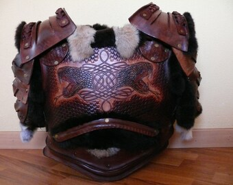 Armor leather Celtic style insets in rabbit hair.