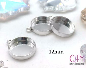 8 pcs Sterling Silver 925 Round Bezel cup 12mm with one loop - Jewelry Basis, Silver Pendant Basis, Silver Bezel Cup