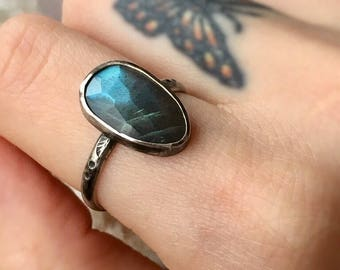 Moonlit Pools, Labradorite Ring, Sterling Silver labradorite ring, faceted labradorite ring, dainty ring, size 8.25, READY TO SHIP