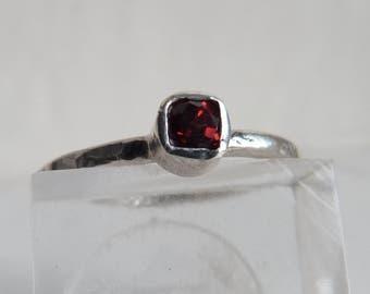 Sterling Silver Garnet Ring, Square Garnet Ring, Engagement Ring, Stacking Ring, Boho RIng, Size P