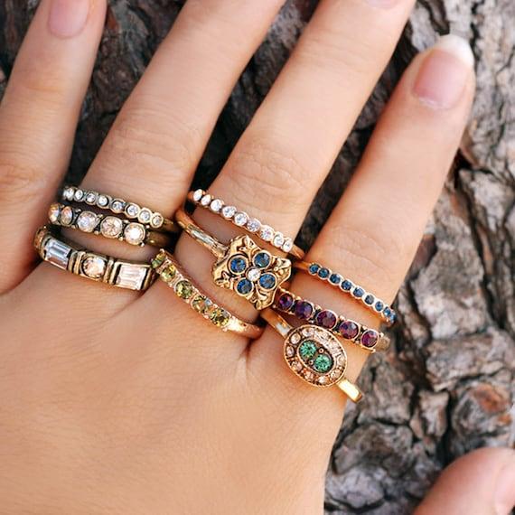Large Swarovski Crystal Rings