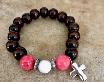 Sandalwood and Coral Bracelet with Cross Charm, Sandalwood Beaded Bracelet, Cross Bracelet, Beaded Jewelry, Boho Beaded Bracelet, Jewelry