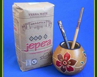 Handcarved Mate Gourd, Organic Yerba, Bombilla & Wooden Spoon
