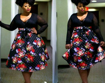 RESTOCKED !!Curvyswan quilted red flowers floral circle skirt