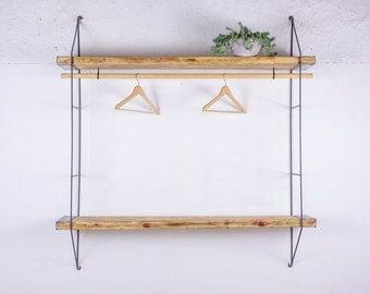 Reclaimed Wood Shelves, Industrial Shelving with Thin Metal Shelf bracket, String Regal Shelves