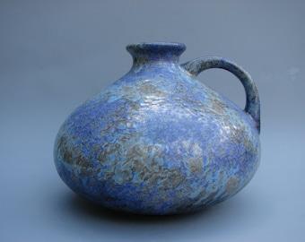 Beautiful glazed Ruscha vase West German ceramics handled lila vase