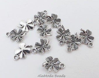 15 Four Leaf Clover Charms 15X10MM Antique Silver 4 Leaf Clovers