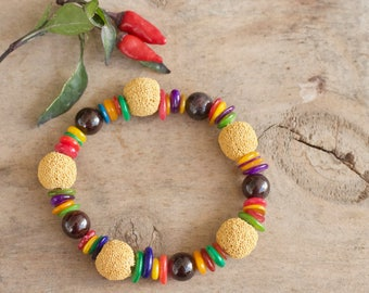 Diffuser bracelet, Diffuser jewelry, Lava rock stone bracelet, Natural stone bracelet, Essential oil bracelet Colorful yoga bracelet, Gift
