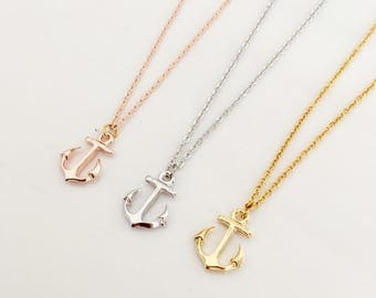 Anchor Necklace ,cute necklace,Ship Anchor necklace, unique necklace gift idea, bridesmaids gift, wedding gift,gold, gold plate