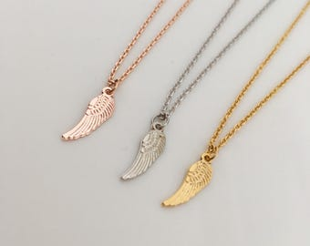 Angel wings Necklace ,cute necklace,angel necklace, unique necklace gift idea, bridesmaids gift, wedding gift,gold, gold plate