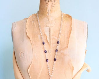 Vintage 1920's Crystal and Purple Glass Pendant Necklace | Size OSFM