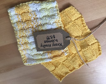 2pc Knitted Dish Coths or Wash Cloths = Size 7X7