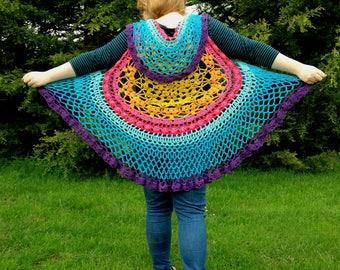 Festival Clothing Shawl Boho Shawl Hippy shawl, Beach Shawl, Crochet Shawl, Mandala Shawl, Gypsy Bohemian shawl, One size, British Seller UK