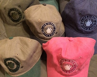 LifeIsBestWithADog custom embroidered pigment dyed baseball hats!