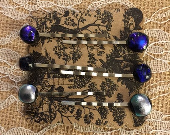 Glass Dichroic Decorative Silver BOBBY PINS 6ea/pk!