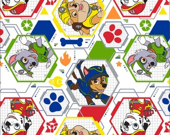 """Paw Patrol Fabric White Mission Possible Cotton Fabric David Textiles 30"""" Bolt End"""