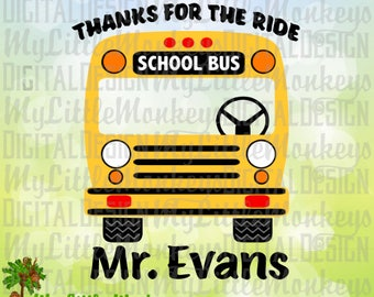 Thanks for the Ride School Bus, School Bus Driver Design Digital Clipart and Cut File Instant Download Color SVG DXF EPS Jpeg Png