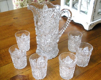 Vintage Nucut IMPERIAL Pressed GLASS Water Set Crystal Pitcher Tumblers