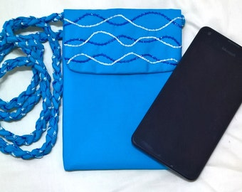 Small Cross Body Bag Blue Embellished, Cell Phone Purse, Passport Pouch, Go Lite Bag, Night Out Bag, Hipster Purse, Grab And Go Bag