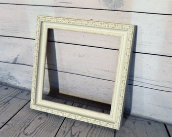 Gallery Frame, Square White and Gold Frame, 10 x 10 Empty Frame, Home Decor Frame