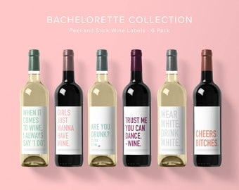 Bachelorette Wine Label Collection | Wine Label 6 Pack | Funny Wine Labels | Wine Label | Wine Bottle