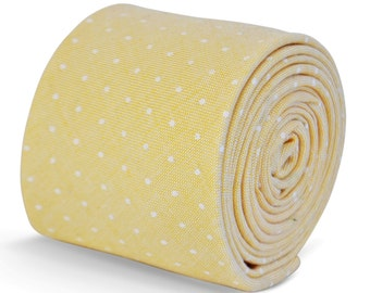 yellow and white pin spot tie in 100% cotton linen by Frederick Thomas FT3094