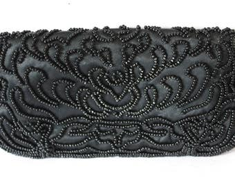 Small Black Beaded Clutch by Golden Rose Snap Front 60s Formal Evening Bag Purse