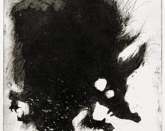 Werewolf - original handpulled aquatint etching - black and white - illustration