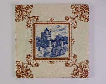 Antique Victorian 1880s Minton castle and moat pottery tile