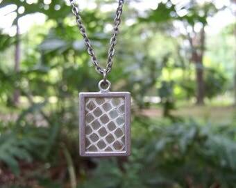 Snake Shed Skin Necklace Antique Silver