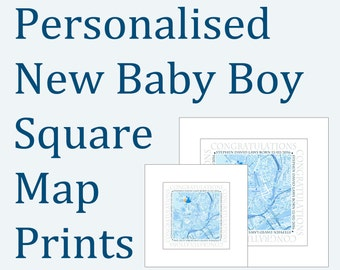 Personalised New Baby Boy Square Map Prints