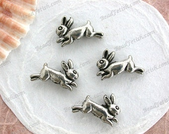 Lead Free Pewter Bunny Beads, Rabbit Beads, Animal Beads, Made in America USA Copyright © Protected Pewter Beads, KF Signature Series K-255