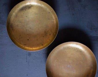 Vintage brass mini plates