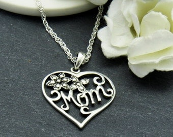 Sterling Silver Heart Pendant, Mothers Gift, Mothers Day Gift, Gift for Mother, Mother Necklace