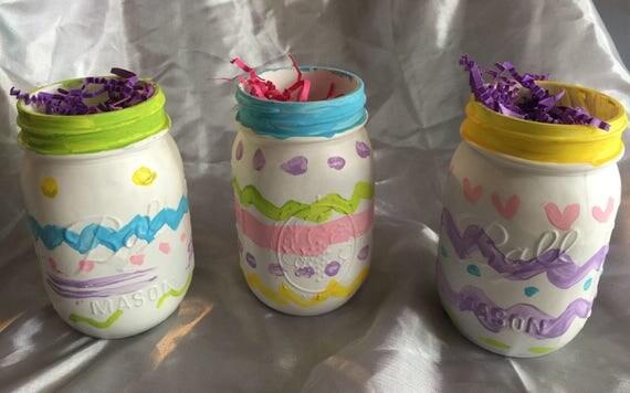 Mason jars: Hand painted Easter Eggs