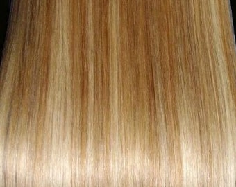 Natural Golden Blonde Mix-100% Human Hair Flip-in(Halo style) extension