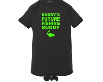 Daddy's Future Fishing Buddy Infant Bodysuit - Baby Fisherman Onesie - Baby Fishing Creeper