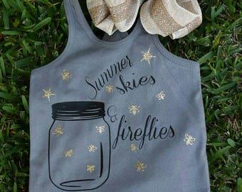 Summer skies & fireflies, fireflies, summer shirt, girls shirt, girls racerback, infant shirt, toddler shirt, racerback, firefly, glitter