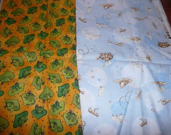 2 Assorted Frog, Reptiles Cotton Fabric Remnants