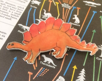 Orange Dinosaur Brooch