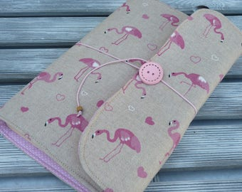 Flamingo Book Sleeve, Book Sleeve, Book cover, Adjustable book cover, Book pouch, Hardback book cover, Booklovers, Flamingo, gift for her