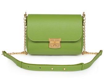 Leather Crossbody Bag, Green Leather Shoulder Bag, Women's Leather Cross body Bag, Leather bag KF-918