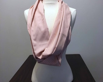 Rose quartz colored pinstripe infinity circle scarf