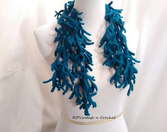 Crochet Branch scarf, necklace, scarflette, crochet branch, Ocean blue