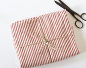 Hemp & Organic Cotton Red and Natural Stripe Fabric - Prewashed