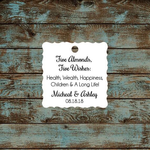 Italitan Wedding Favor Tags, Jordan Almond Favor Tags, Sugared Almond Favor Tags, Five Wishes Poem Favor Tags #654 Qty: 30 Tags