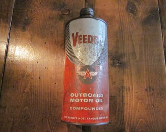 Vintage Veedol Flying A Outboard Motor Oil Can Tin Advertising Sign Tidewater